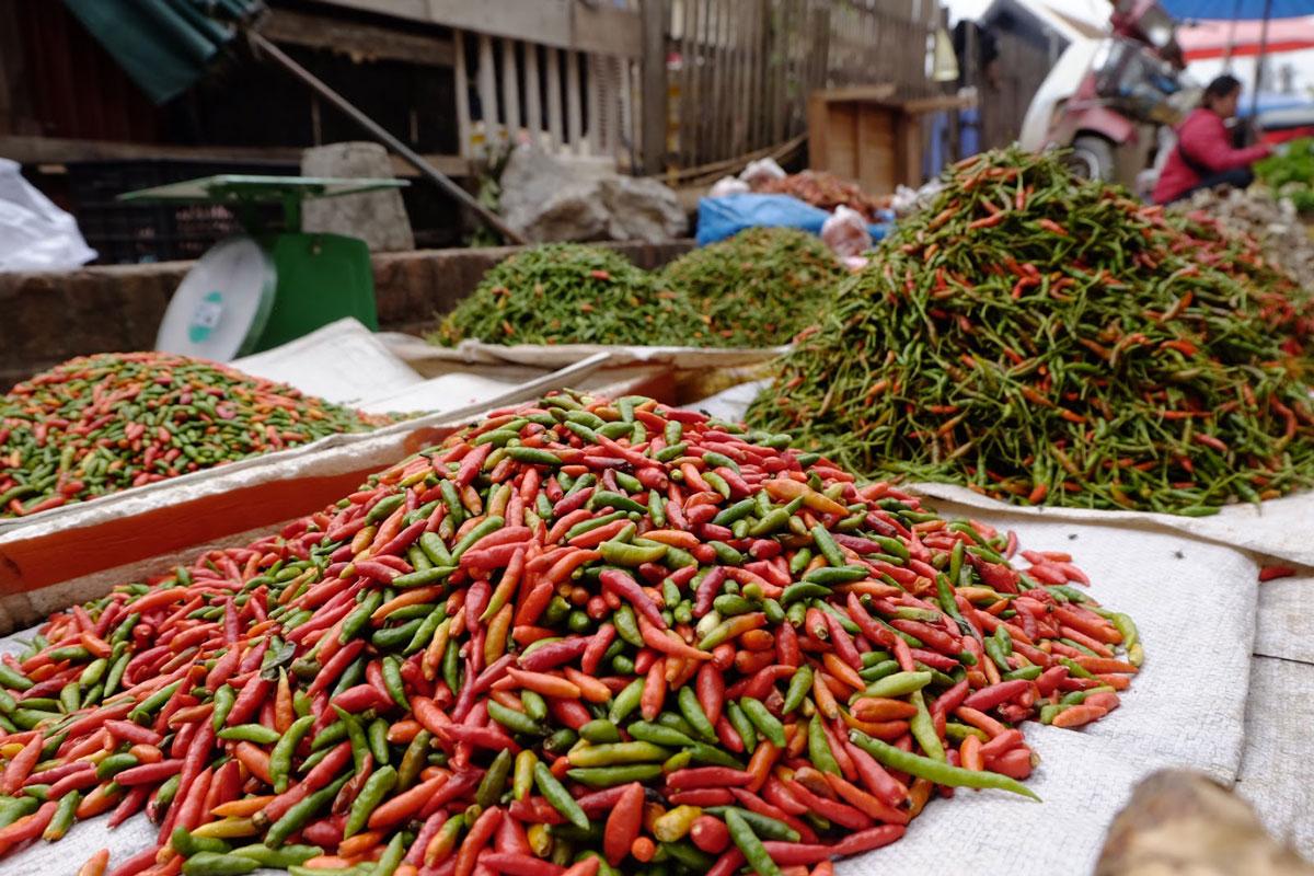 peperoncini al mercato di Luang Prabang in Laos