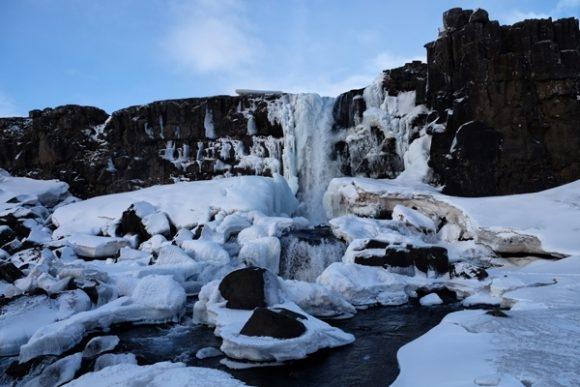 Una cascata nel meraviglioso Parco nazionale Þingvellir