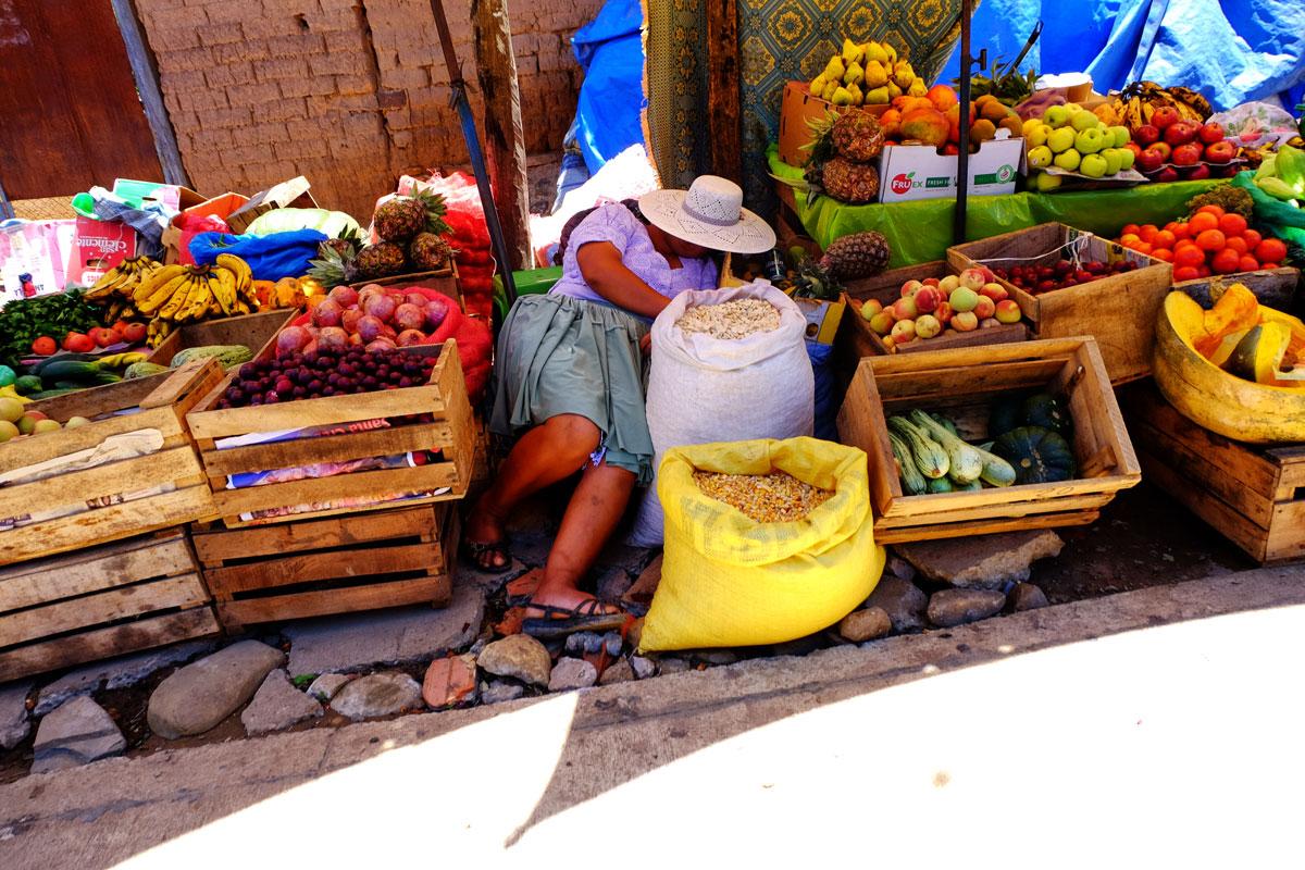 donna fa la siesta in un mercato in Bolivia