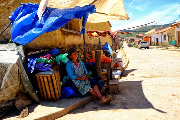 Mercato boliviano a Samaipata in Bolivia