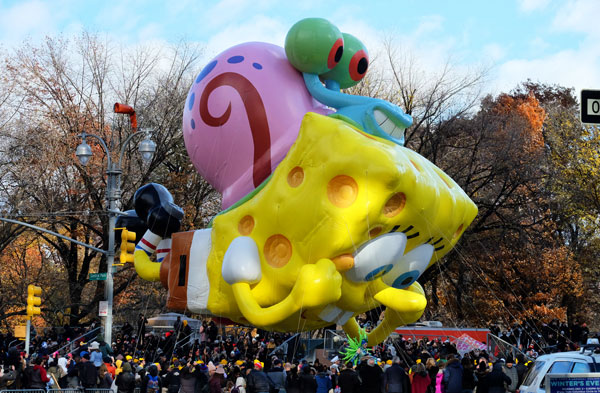 SpongeBob alla parata del Thanks Giving Day a New York