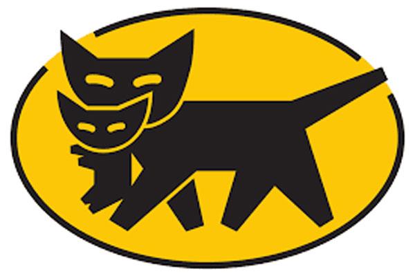 Logo compagnia Yamato, che raffigura  due gattini neri su sfondo giallo, che consente di viaggiare leggeri in Giappone