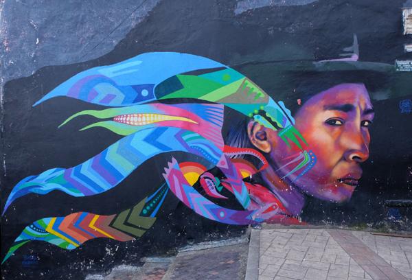Murale a Bogotà, in Colombia. Ne vedrete tantissimi durante il vostro itinerario di 3 settimane in Colombia.