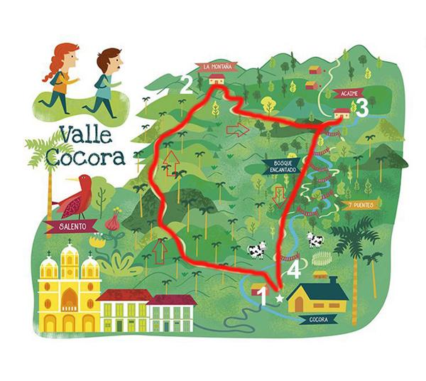 Mappa Valle del Cocora in Colombia, ti aiuterà nel tuo itinerario di 3 settimane in Colombia.
